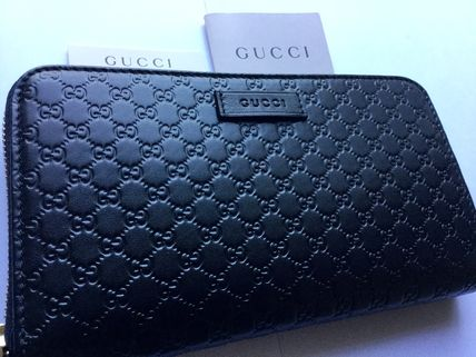 GUCCI micro GG black round long wallet