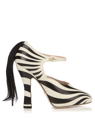GUCCI パンプス GUCCI★Lesley zebra-applique leather pumps