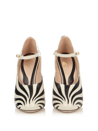 GUCCI パンプス GUCCI★Lesley zebra-applique leather pumps(4)