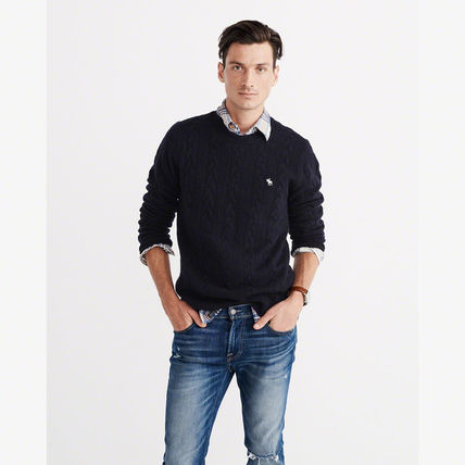 Abercrombie & Fitch ニット・セーター 【国内即発送】アバクロ CABLE KNIT CREW SWEATER★NAVY