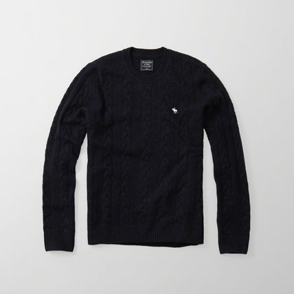 Abercrombie & Fitch ニット・セーター 【国内即発送】アバクロ CABLE KNIT CREW SWEATER★NAVY(2)