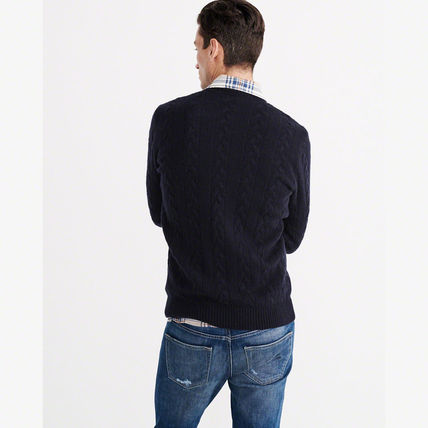 Abercrombie & Fitch ニット・セーター 【国内即発送】アバクロ CABLE KNIT CREW SWEATER★NAVY(3)