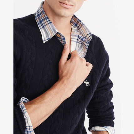 Abercrombie & Fitch ニット・セーター 【国内即発送】アバクロ CABLE KNIT CREW SWEATER★NAVY(4)