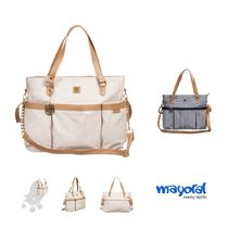 Mayoral(マヨラル) ベビーその他 MAYORAL☆BEIGE & WHITE STRIPED BABY CHANGING BAG (43CM)