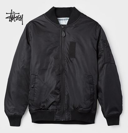 * STUSSY * * embroidered back Ma-1 bomber jacket/b