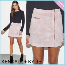 【Kendall + Kylie】新作★スウェードジップスカート ピンク