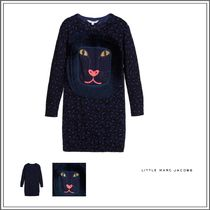 Little Marc Jacobs(リトルマークジェイコブス) キッズウェア NAVY BLUE COTTON KNITTED LEOPARD PRINT DRESS