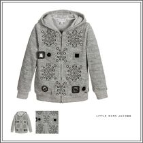 Little Marc Jacobs(リトルマークジェイコブス) キッズウェア LITTLE MARC JACOBS☆ GREY COTTON VELOUR ZIP-UP TOP WITH GEMS