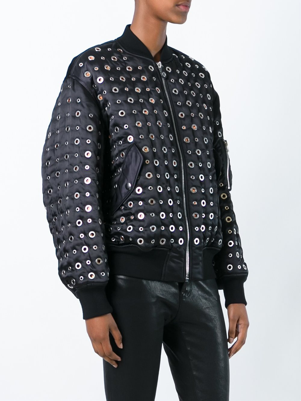 16-17AW AW021 LOOK19 GROMMET EMBELLISHED BOMBER JACKET