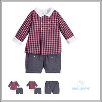 ベビーウェア・ロンパース LARANJINHA☆BABY  RED & BLUE CHECK TOP & SHORTS SET