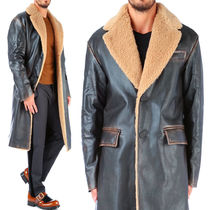 PR197 VINTAGE EFFECT LEATHER COAT WITH BOA