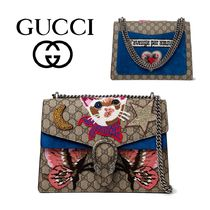 GUCCI Dionysus Embroidered Cat Shoulder Bag