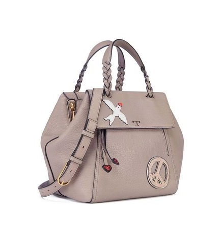 【Tory Burch】PEACE EMBELLISHED HALF-MOON SMALL SATCHEL Grey