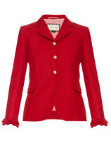 GUCCI★Ruffle-trimmed wool and silk-blend jacket
