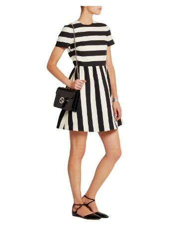 関税送料込み Valentino Striped crepe mini dress 国内発送
