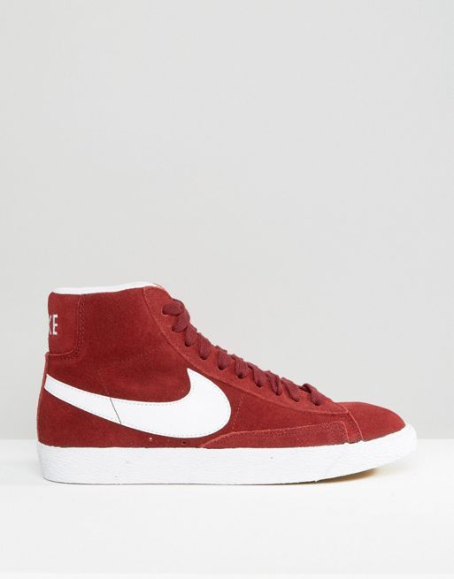 【関税送料込】Suede Blazer Trainers In Burgundy And White☆