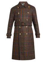 GUCCI★Double-breasted tartan trench coat