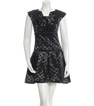 【 CHANEL 】Polka Dot Jacquard Dress FR36 黒xネイビー S