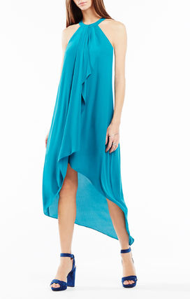 BCBGLanna by the High-Low Daped Ruffle Dres