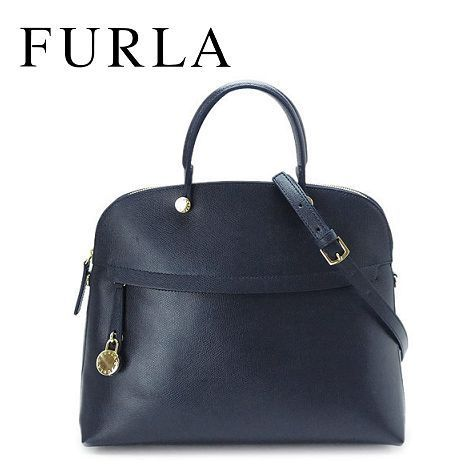 17春夏 ☆FURLA☆ PIPER Top Handle L 2wayバッグ NAVY b♪