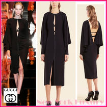 GUCCI★素敵!BLACK SILK CAPE LONG SLEEVES OPEN FRONT DRESS