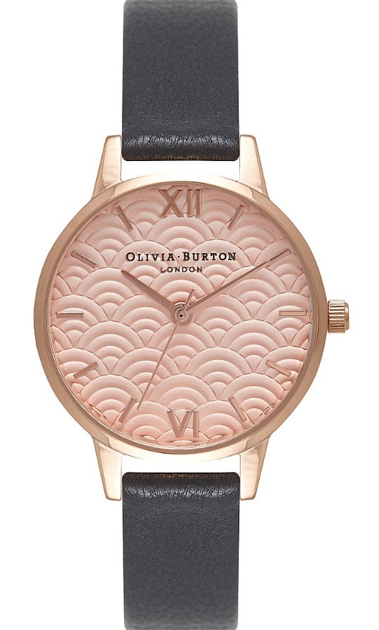 ★Olivia Burton★SCALLOPED DESIGN Midi Dial レザーウォッチ