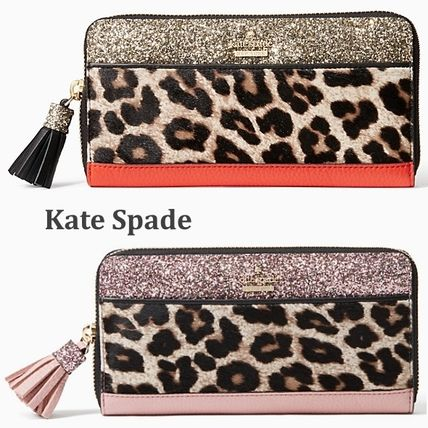 Kate Spade mullins place lacey zip-around ヒョウ柄 長財布