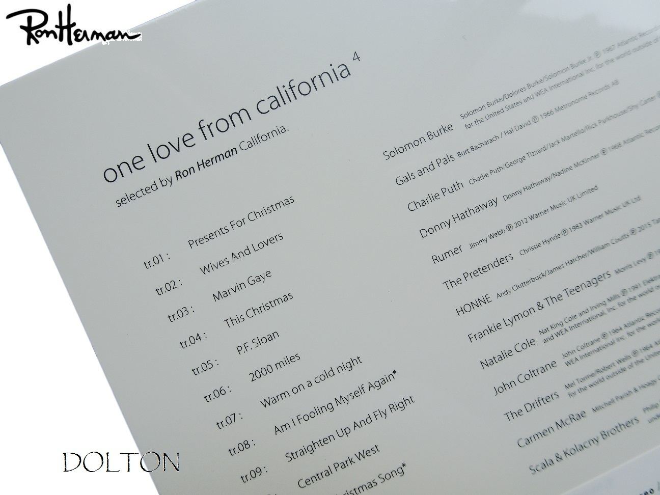 ロンハーマン・CD・One Love from California 4