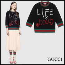 GUCCI☆Ghost LIFE IS GUCCI ロゴスウェットシャツ☆2016-17AW