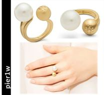 【Tory Burch】HAMMERED METAL & PEARL RING