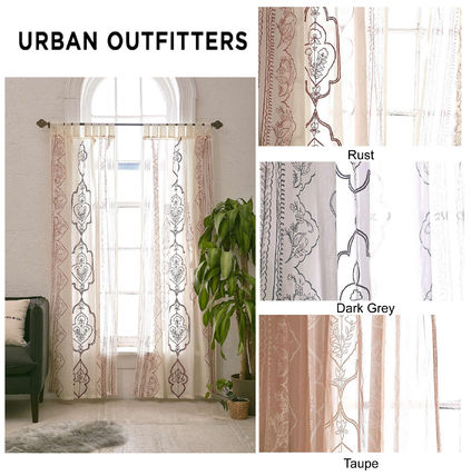 Cute length embroidered cotton curtains