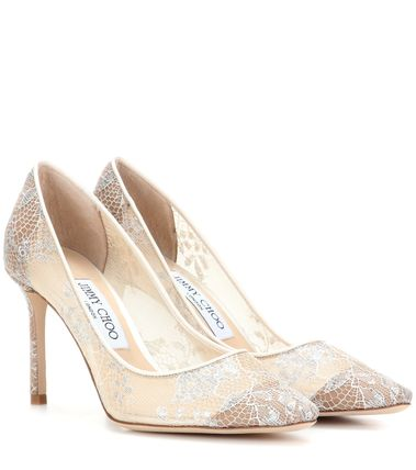 JIMMY CHOO ROMY 85 white lace pumps