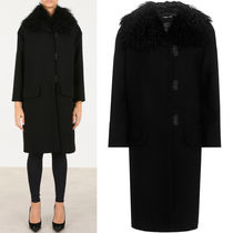 MM015 WOOL COAT WITH SHEEP FUR COLLAR