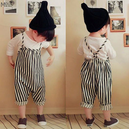 «Striped overalls baby kids rompers