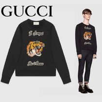 GUCCI Cotton Sweatshirt with Tiger Embroideries
