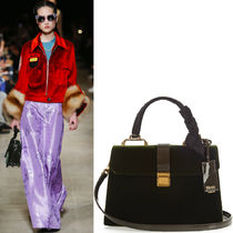 MM043 LOOK24 VELVET & PATENT LEATHER 'MADRAS' HANDBAG