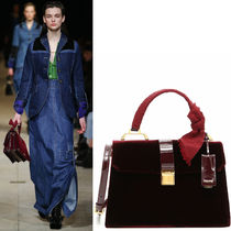 MM044 LOOK9 VELVET & PATENT LEATHER 'MADRAS' HANDBAG