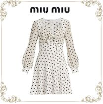 【17SS】★MiuMiu★Cat-print long-sleeved silk dress