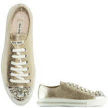 MM076 SWAROVSKI CRYSTAL EMBELLISHED METALLIC SNEAKERS