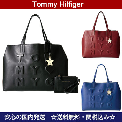 【Tommy Hilfiger】3色★スターチャーム付き*tommyロゴトート★