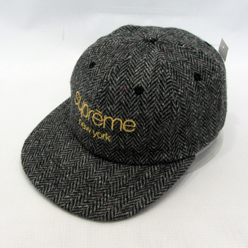 Supreme FW16 Wool Herringbone Classic Logo 6-panel 黒