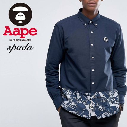 SALE Aape long sleeves logo camouflage print t-shirt Navy /