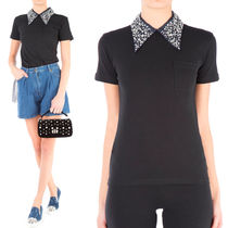 MM089 EMBELLISHED COLLAR COTTON T-SHIRT