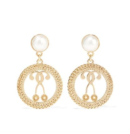 ★ ★ MOSCHINO★ ★  Gold-tone faux pearl earrings