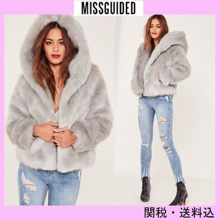 Missguided hooded faux leather coat * Grey