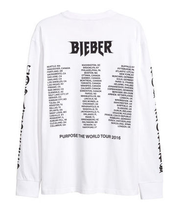 H&M Tシャツ・カットソー FW16 H&M JUSTIN BIEBER PURPOSE TOUR L/S PAINTED TEE 送料無料(2)