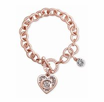 ★GUESS★Rose Gold-Tone Crystal Heart Charm Logo Bracelet
