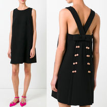 17SS DG790 WOOL SHIFT DRESS WITH BOW & BIJOUX