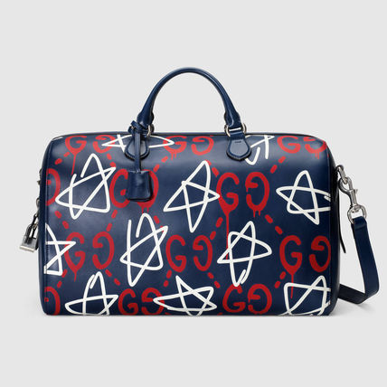 GUCCI ghost] leather Boston bag