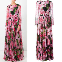 17SS DG794 ROSE PRINTED SILK GOWN